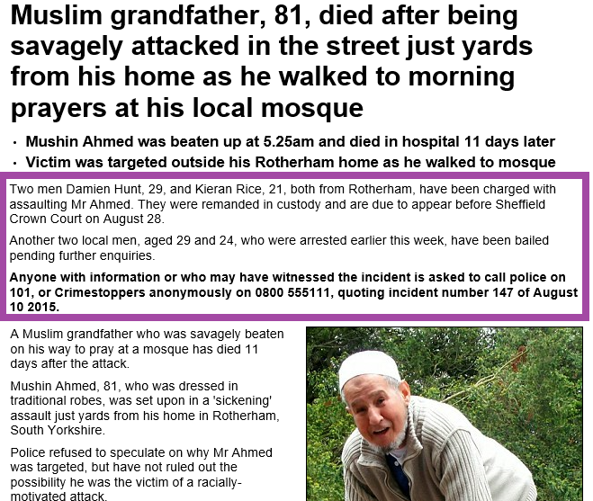 ahmed murder martyr Rotherham