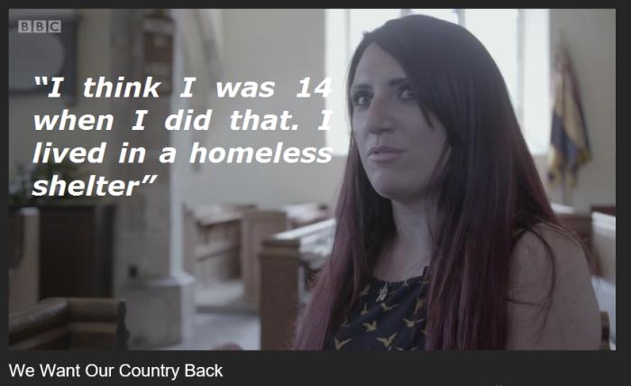 BBC3 BF WWOCB Jayda Fransen homeless shelter lie